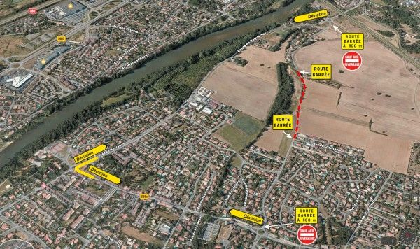 plan fermeture axe routier entre Roquettes et Pinsaguel