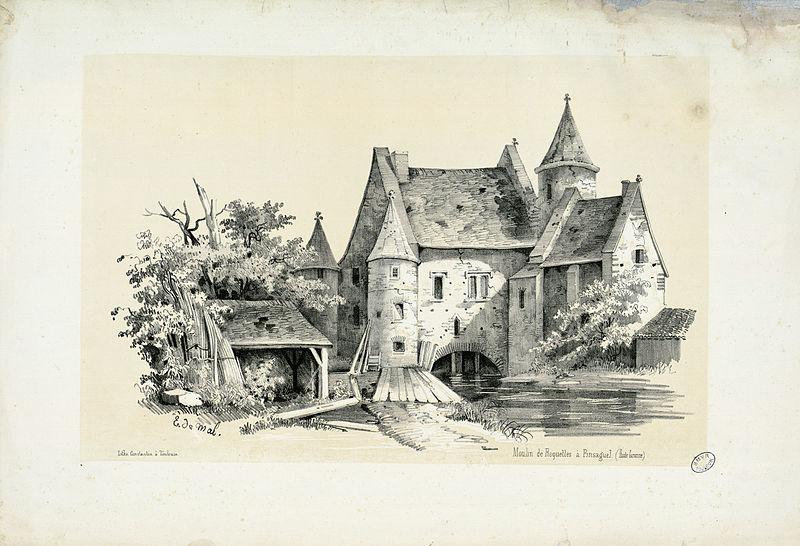 Gravure ancienne du Moulin de Roquettes