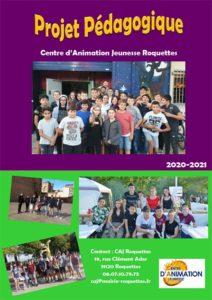 couverture du projet pédagogique 2020-2021 du Centre jeunesse de Roquettes