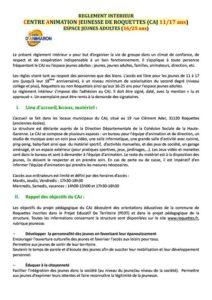 Règlement intérieur du CAJ de Roquettes